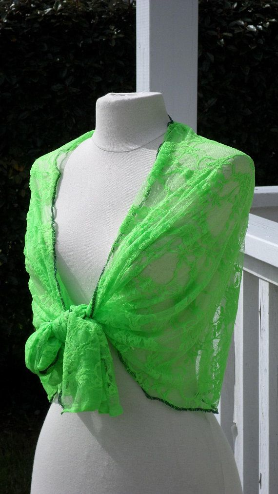 Etole écharpe foulard châle en dentelle vert fluo pour femme  agréable pour  mariage fête anniversaire soirée de lin eva collection printemps 7ee4b55ecb9