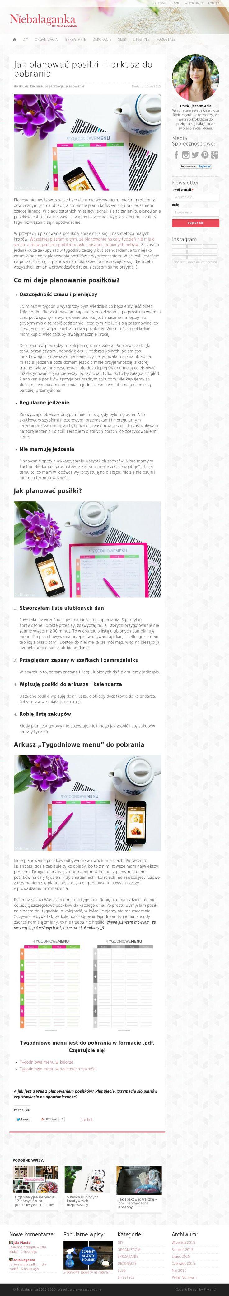 The website 'http://niebalaganka.pl/jak-planowac-posilki/' courtesy of @Pinstamatic (http://pinstamatic.com)