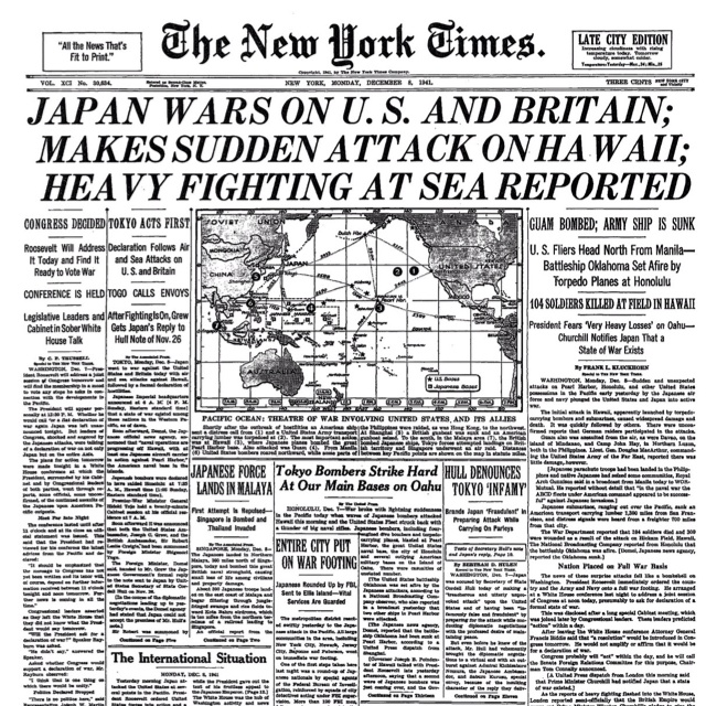 New York Times on Pearl Harbor    The attack on Pearl Harbor was a surprise military strike conducted by the Imperial Japanese Navy against the United States naval base at Pearl Harbor, Hawaii, on the morning of December 7, 1941 (December 8 in Japan). The attack was intended as a preventive action in order to keep the U.S. Pacific Fleet from interfering with military actions the Empire of Japan was planning in Southeast Asia against overseas territories of the UK, the Netherlands, and the…
