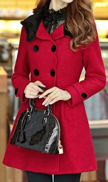 5- colors women's Princess style dress coat Wool jacket Double button coat Apring autumn winter coat jacket cute coat overcoat topC145