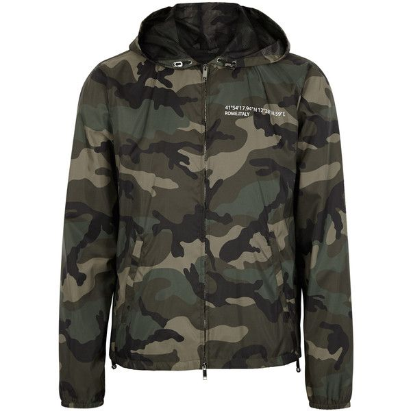 Valentino Camouflage-print Shell Jacket - Size 42 ($1,420) ❤ liked on Polyvore featuring men's fashion, men's clothing, men's outerwear, men's jackets, mens shell jacket, mens olive green jacket, mens army green jacket, mens camouflage jacket and mens leopard print jacket