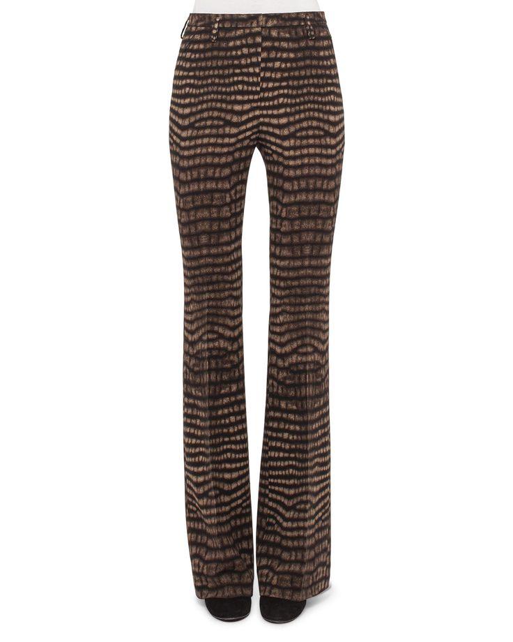 Farrah Cheetah-Print Boot-Cut Pants, Date/Steppe