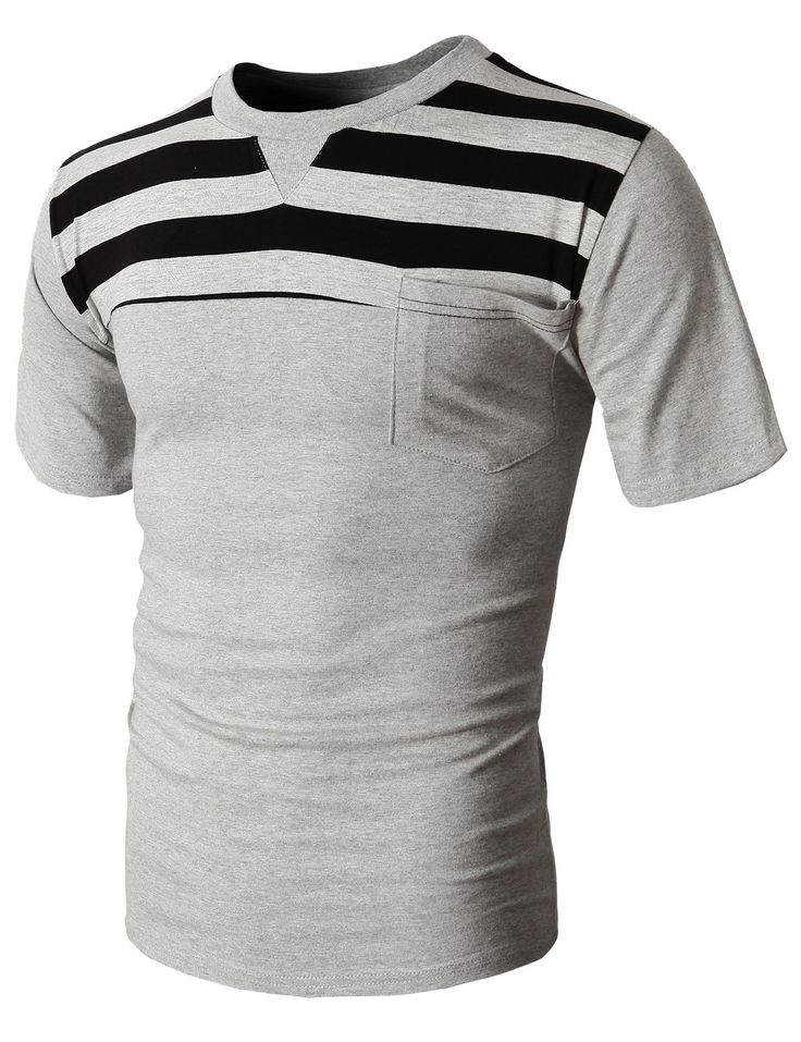 Doublju Men's Crew Neck Fashion T-Shirts With Stripe Patterned Pointed (KMTTS049) #doublju