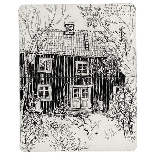 Sweden Alem Sommar Stuga Artist Residence Residency Illustrator Travel Diary House In The Woods Country Pencil Drawing
