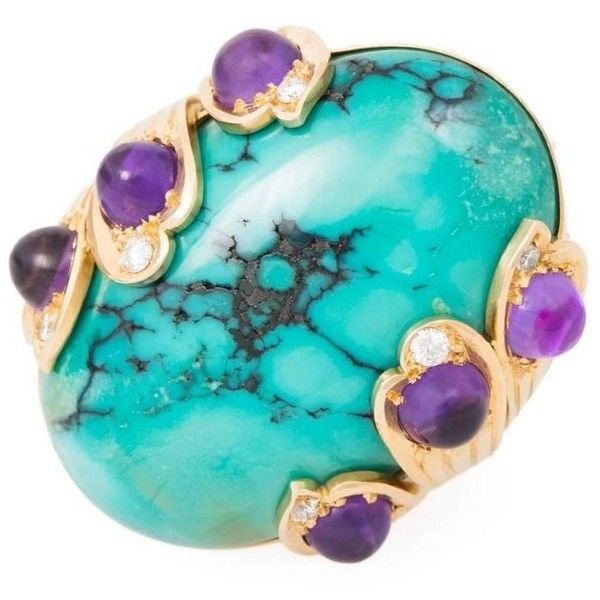 Preowned 1960s Gold, Turquoise, Amethyst & Diamond Ring ($14,500) ❤ liked on Polyvore featuring jewelry, rings, purple, purple turquoise ring, yellow gold amethyst ring, yellow gold rings, oval diamond ring and diamond rings