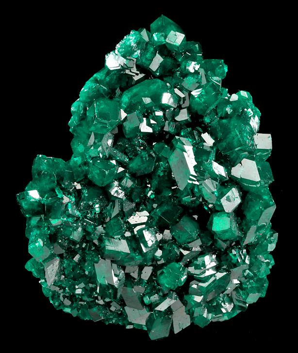 Dioptase crystals  From the Tsumeb Mine, Tsumeb, Namibia, SW Africa.  Measures 6.4 cm by 5.1 cm by 2.4 cm in total size.