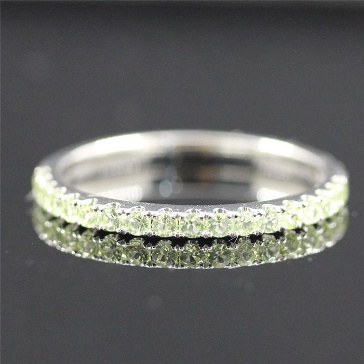 VS Natural Peridot Ring Pave 14K White Gold Round Cut Peridot Jewelry Wedding Ring Wedding Band Birthstone Ring - Vogue Gem