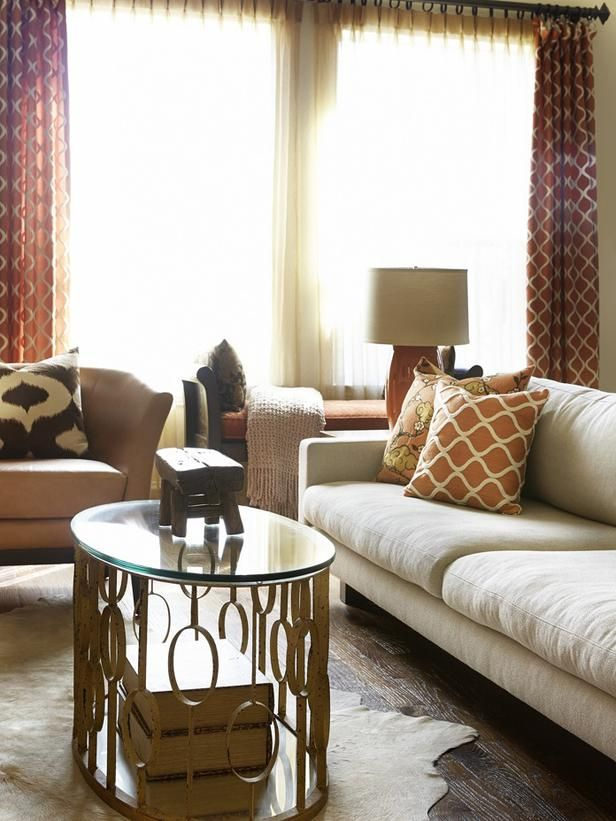 Burnt Orange and Gold room by Hilari Younger - 20 Living Room Color Palettes You've Never Tried  on HGTV by Jeanine Hays