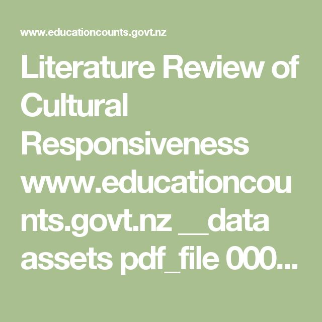 Literature Review of Cultural Responsiveness    www.educationcounts.govt.nz __data assets pdf_file 0008 7667 piscpl-lit-review.pdf