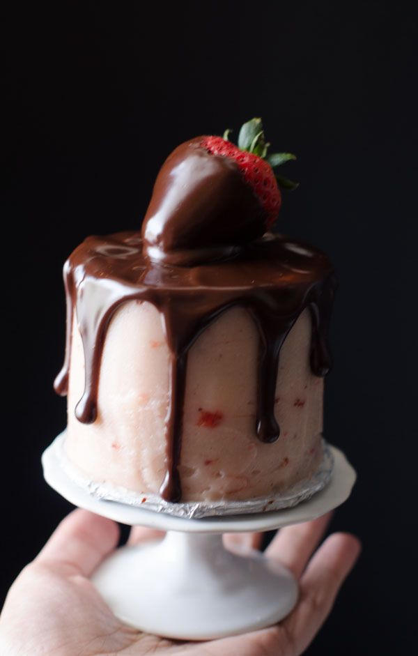 Mini Chocolate Strawberry Cake for Two - how perfect is this for Valentines Day?