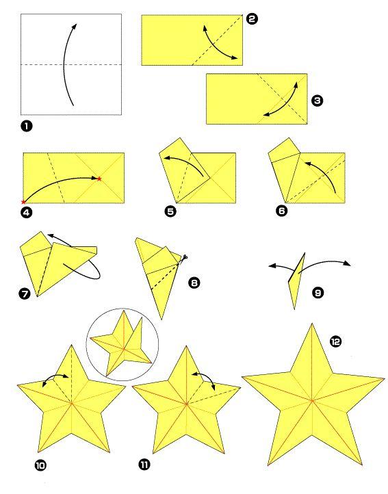 Origami - Estrela de Natal de cinco pontas