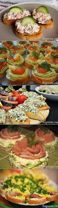 Open face appetizer sandwiches.