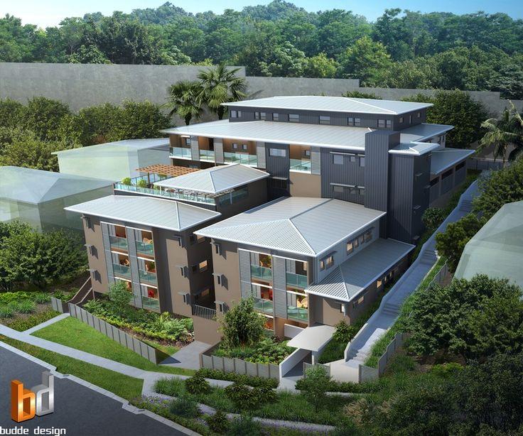 3D external birds eye render for a development project - St Lucia QLD