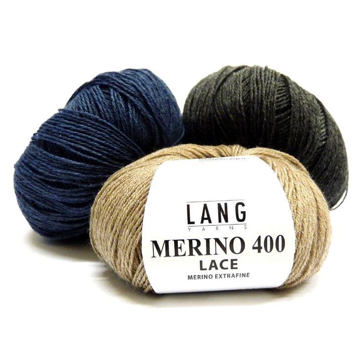 Garen. 100% Wol. LANG Yarns Merino 400 Lace. Lang Yarns - Merino 400 Lace is een zeer fijn garen van pure merino wol. Verkrijgbaar in 3 modieuze kleuren en geschikt voor vele brei- en haakdoeleinden. Merino400Lace3.jpg