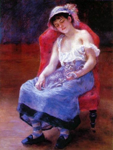 Menina dormindo com um gato, pintura de Renoir.