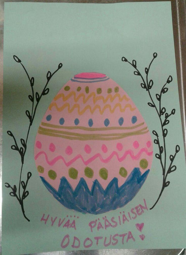 Vastasimme munatilaukseen pääsiäistoivotuksella! Onneksi muistimme aprillipäivän!
