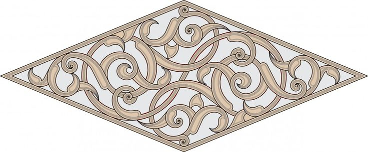 Rhombic floral design from the Kaaba minbar.