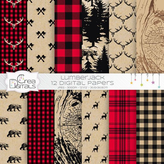 Wood land lumberjack, antler, bear, mountains and flanell background 12 digital papers for scrapbooking, party, decoration, cards, paper goods and