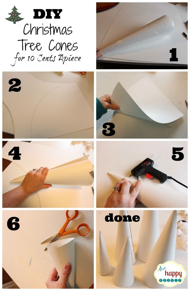 DIY Christmas Tree Cones for ten cents apiece collage tutorial at thehappyhousie