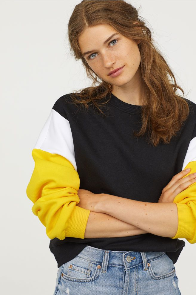 923b1811c35 Color-block Sweatshirt - Black yellow - Ladies