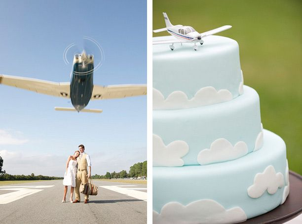 Sky/Cloud/Airplane Wedding Cake