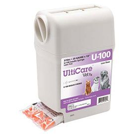 UltiGuard UltiCare U-100 VetRx Veterinary Insulin Syringes - 29g 3/10cc 1/2 - 100/bx. Our Price: $20.29