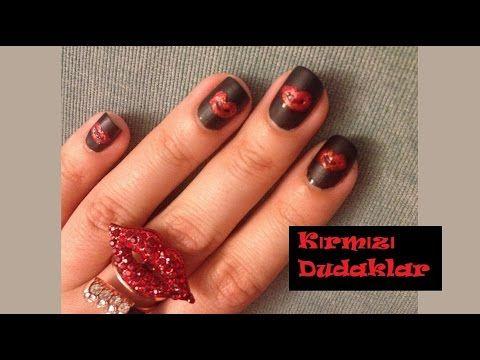 Nail Art - Kırmızı Dudaklar Tırnaklarda red lips nailart - YouTube