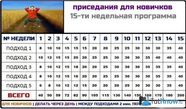 Программа приседаний на 30 дней