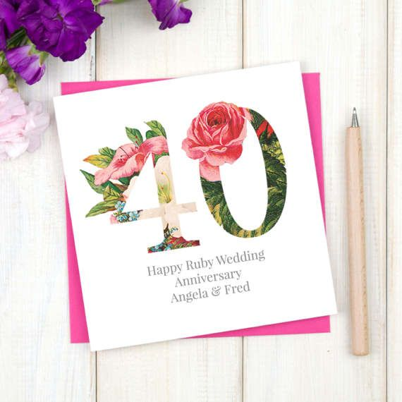 40th Wedding Anniversary Card - Floral Anniversary Card - Typographic Anniversary Card - Ruby Wedding Anniversary Card - Mr and Mrs - Etsy - LetsDreambyChiChiMoi