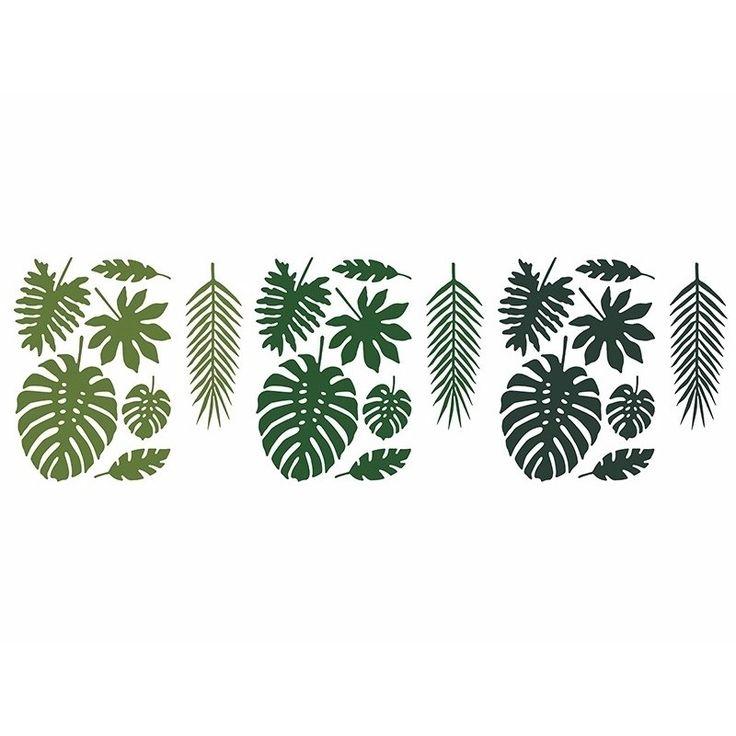 Hawaii decoratie tropische bladeren 21 stuks. Decoratieve set bevat 7 verschillende tropische blaadjes. Elke vorm komt in 3 tinten van groene kleur. Verpakking: 21 bladeren. Materiaal: papier.
