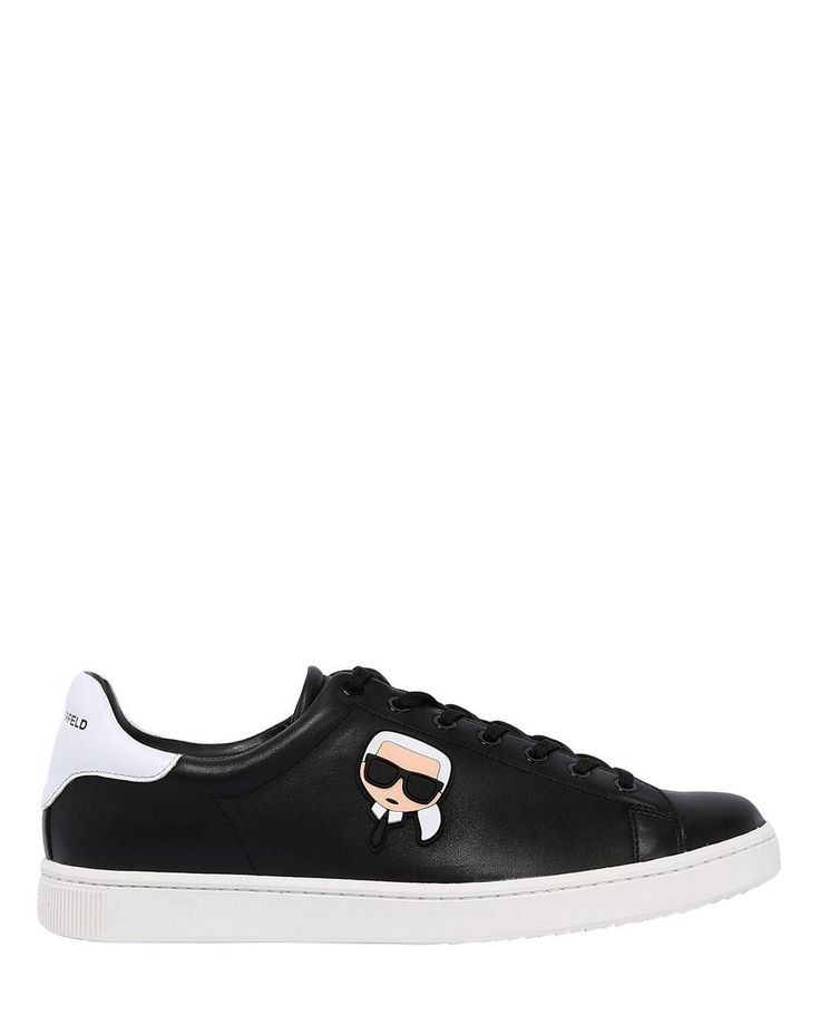 Karl Lagerfeld | Black Leather Sneakers W/ Karlito Patch for Men | Lyst