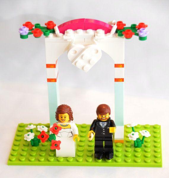 Custom Lego Minifigure Weding Favors Bridal Cake Topper Or Display Wedding Bride Groom Couple By DivinityBraid On