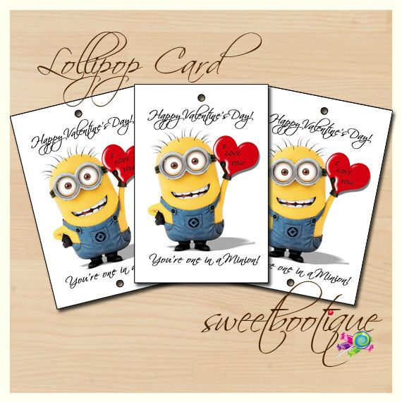 Pin Despicable Me Minion Valentines Day Tag Card Lollipop