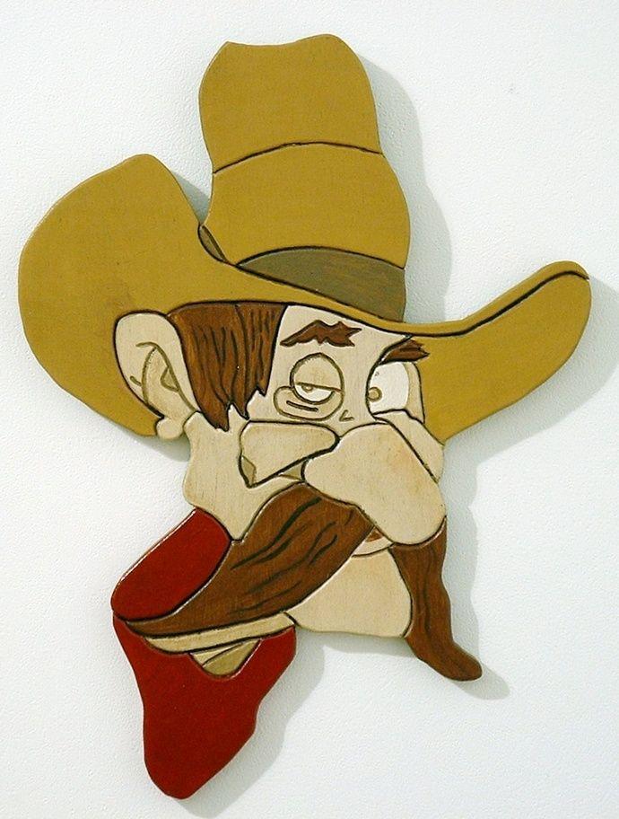 Rustic Wood Sculpture Cowboy,  Wall Hanging Art, Intarsia  Wood Art by GalleryatKingston, $99.00 USD