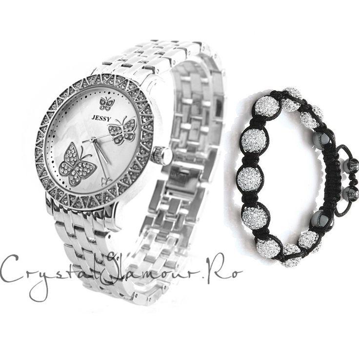 Ceas de dama Jessy Butterfly cu cristale Swarovski - Crystal Glamour