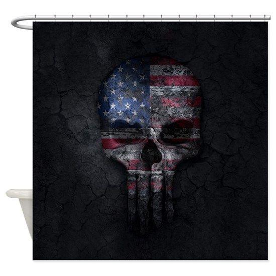 American Skull Flag Patriotic Shower Curtain By O2ks Dengan Gambar