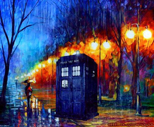 Awesome TARDIS painting - Leonid Afrimov inspired?