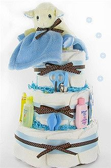 Baby Boy Lamb Diaper Cake