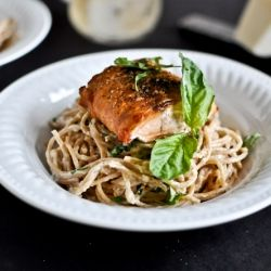 Crispy salmon over creamy basil noodles... a meal that can be made in 30 minutes.  #foodgawker