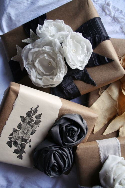 Fabric flowers & torn paper with a floral stamp made beautiful gift wrap.