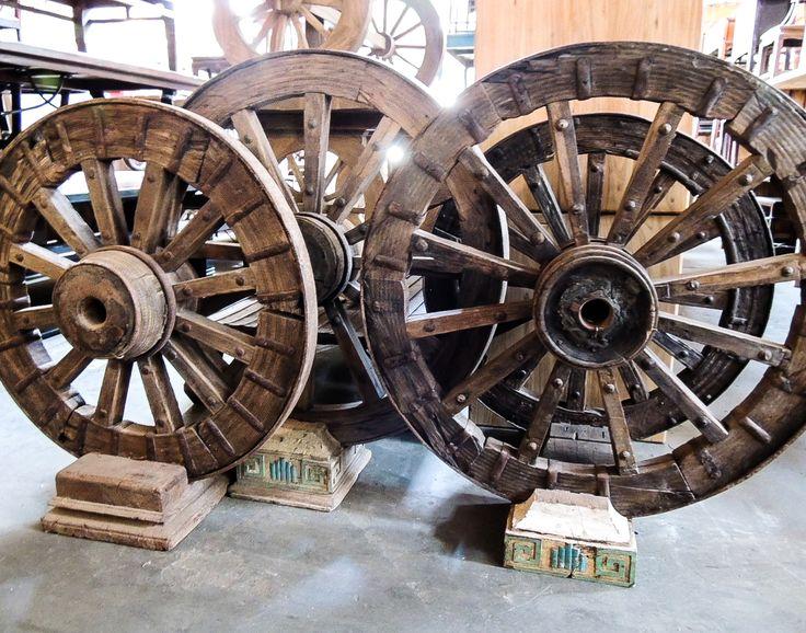 Wooden wagon wheels! #wood #wooden #wagon #wheels #round #vintage #antique #rustic #handcarved #woodlovers #woodworking #woodart #wholesale #import #decor #homedecor #furnituredesign #furniture #woodfurniture #design #interiordesigners #interiordesigner #interiordesign #Phoenix #Arizona #Tempe #Scottsdale #AZ #designinspiration #interiordesignideas