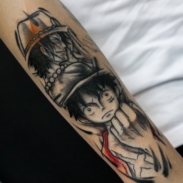 Luffy And Ace From One Piece Tattoo By Victor Monte Victormmonte Tatuagens Unicas Tatuagem One Piece Tatuagem