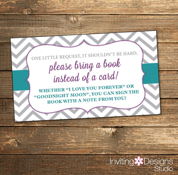 Book Insert Card, Bring a Book, Baby Shower, Chevron, Floral, Grey, Gray, Purple, Teal, Aqua, Modern (PRINTABLE FILE) by InvitingDesignStudio on Etsy