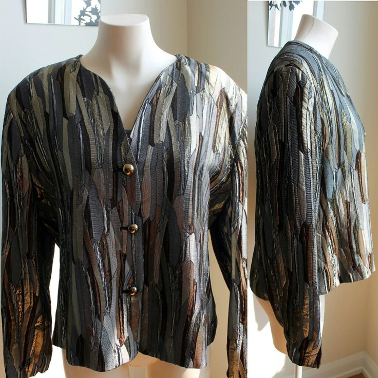 80's Jacques Vert Metallic Abstract Plus Size Blazer by HotMamaVintage on Etsy