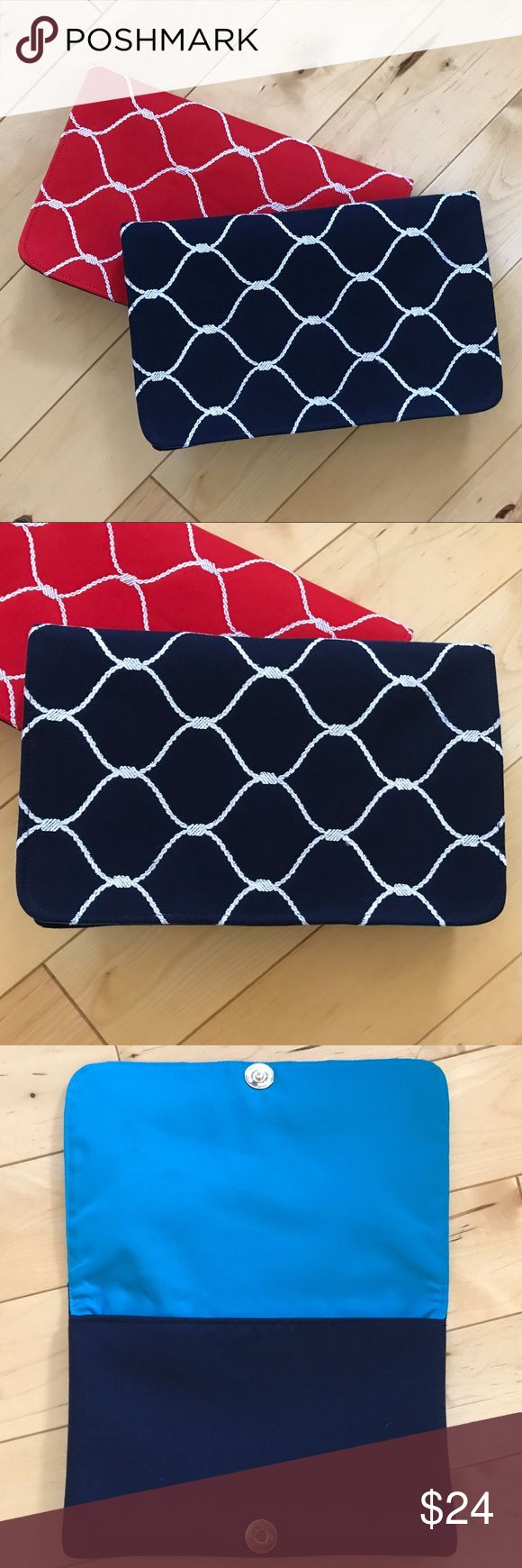 "Shiraleah Navy Nautical Clutch Bag Brand new! Measures 9"" X 6"". Sold at Anthropologie. Navy bag with cute nautical rope pattern. Interior zip pocket. Anthropologie Bags Clutches & Wristlets"