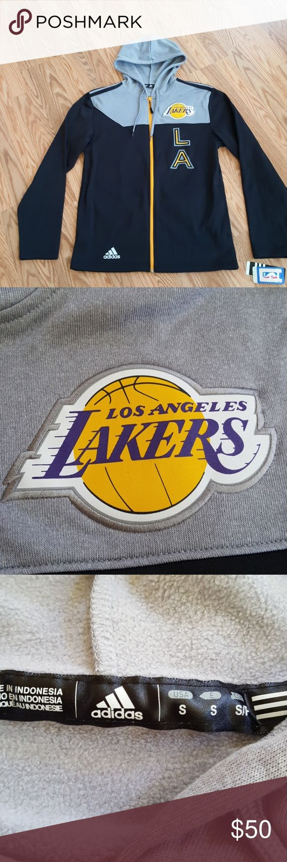 Lakers Hoodie Jacket Adidas NWT Lakers hoodie by Adidas. This hoodie is not heavy, but supposed to keep you warm and dry. adidas Jackets & Coats
