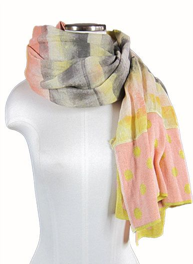 Sciarpa artigianale dipinta a mano fantasia gialla rosa e grigia in lino e cotone / Handmade scarf,  yellow, pink, grey pois and stripes made with cotton and linen, one of a kind. www.etsy.com/shop/ambrarosevintage