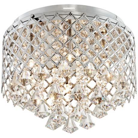 "Criss-Cross Crystal 14"" Wide Flushmount Ceiling Light - #R2871 | LampsPlus.com"