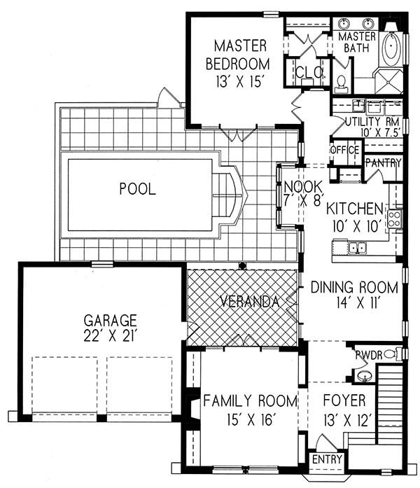 Plan #1-1289 Spanish style home with a living SF of 1547 (2106 - plan sales