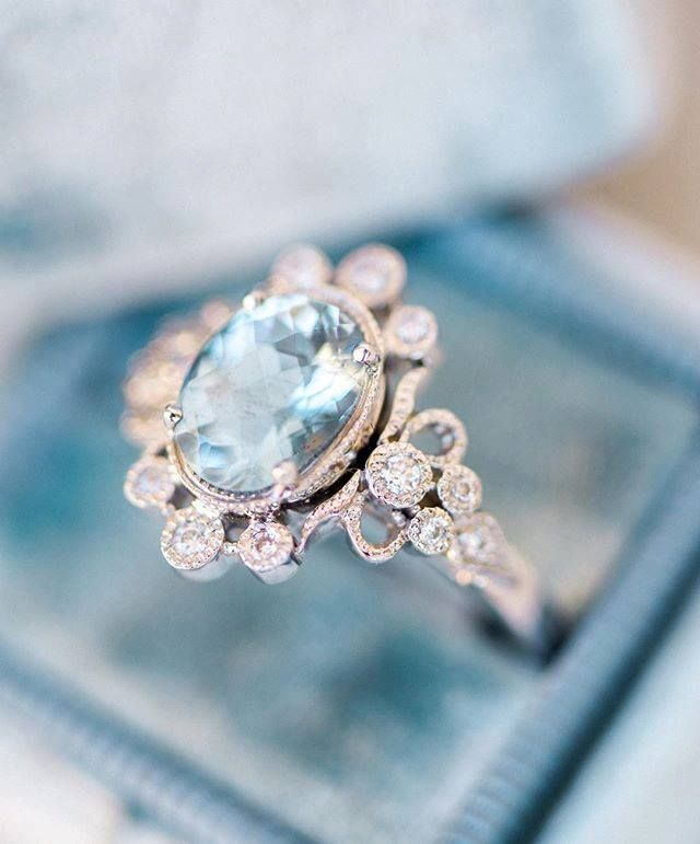 Trumpet and Horn Antique Aquamarine Engagement Ring
